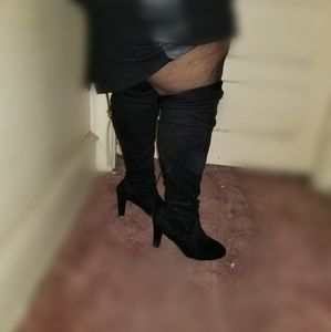 Lane Bryant faux suede wide calf thigh high boots